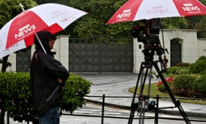 BBC umbrellas and camera outside entrance to Charters Estate