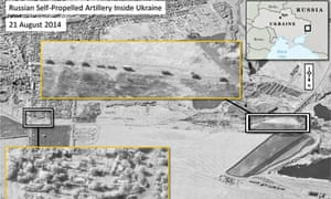 A satellite image showing what Nato claims are self-propelled Russian artillery units inside Ukraine