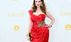 20b0b70587e Christina Hendricks in a crimson Marchesa gown at the Emmy Awards in Los  Angeles