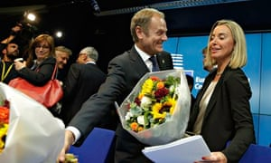 Donald Tusk and Federica Mogherini at the Brussels summit