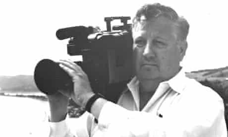 Robert Drew, documentary film-maker, with camera