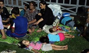 Displaced Iraqi Christians settle at St Joseph Church in Irbil, northern Iraq.