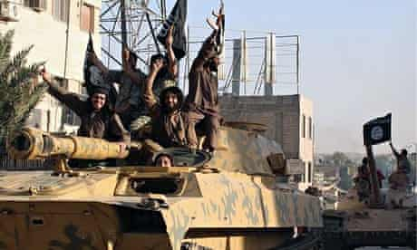Isis fighters on a tank
