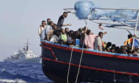 Migrants rescued by Italian navy