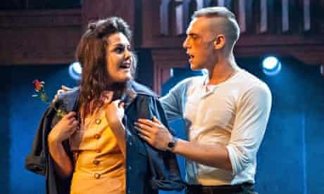 Rose (Laura Jane Matthewson) and Birdlace (Jamie Muscato) in Dogfight at the Southwark Playhouse.