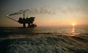North Sea oil platform at sunset