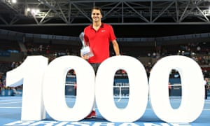 Roger Federer reached the career milestone of 1,000 wins following his three-set defeat of Milos Rao