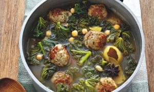 Yotam Ottolenghi's turkey meatballs and kale in lemon broth