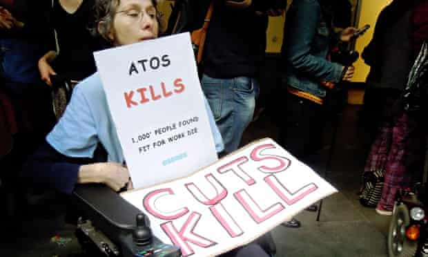 An anti-Atos campaigner in London, August 2012