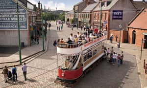 Street with tram at Beamish museum in County Durham