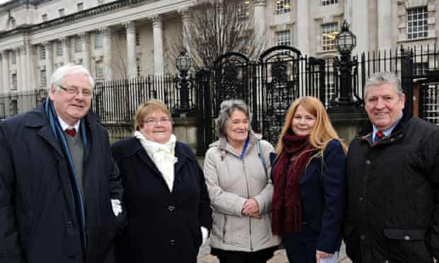 Families of the Omagh Bomb victims outside Belfast high court