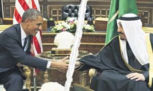 Barack Obama and King Salman in Riyadh