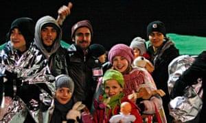 Refugees after disembarking from the Ezadeen