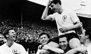 Ron Henry is carried on the shoulders of his team-mates after the FA Cup Final in 1962