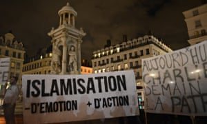 far right activists demonstrate in Lyon against the Islamisation of France