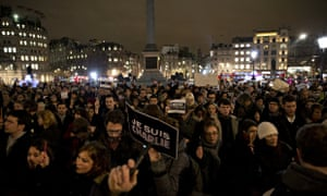 A vigil in Trafalgar Square to show solidarity with the victims of the attack on Charlie Hebdo.