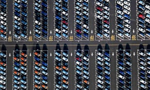 New cars at a shipping port
