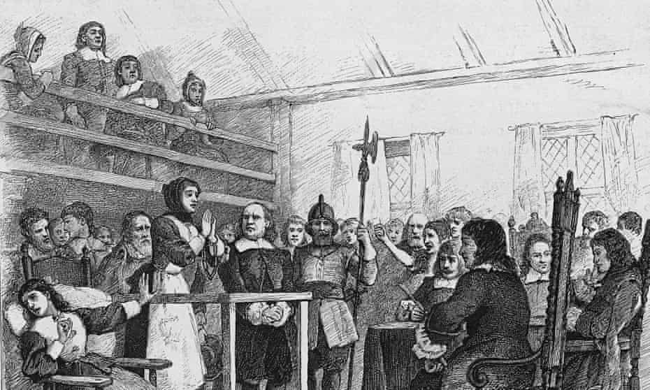 Engraving depicting a woman in handcuffs being tried for witchcraft in a courtroom