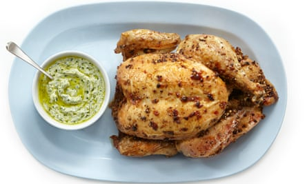 Tomasina Miers' coriander-crusted chicken with green tahini dressing