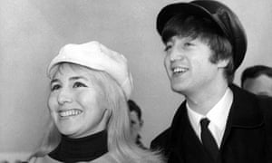 Cynthia Lennon with her husband John at Heathrow airport on 7 February 1964, when the Beatles embarked on their first visit to New York. Photograph: Cummings Archives/Redferns