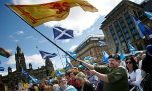 The 'Hope Over Fear' rally in George Square, Glasgow, on 25 April as independence campaigners encourage people to 'lend their vote' to the SNP at the General Election.
