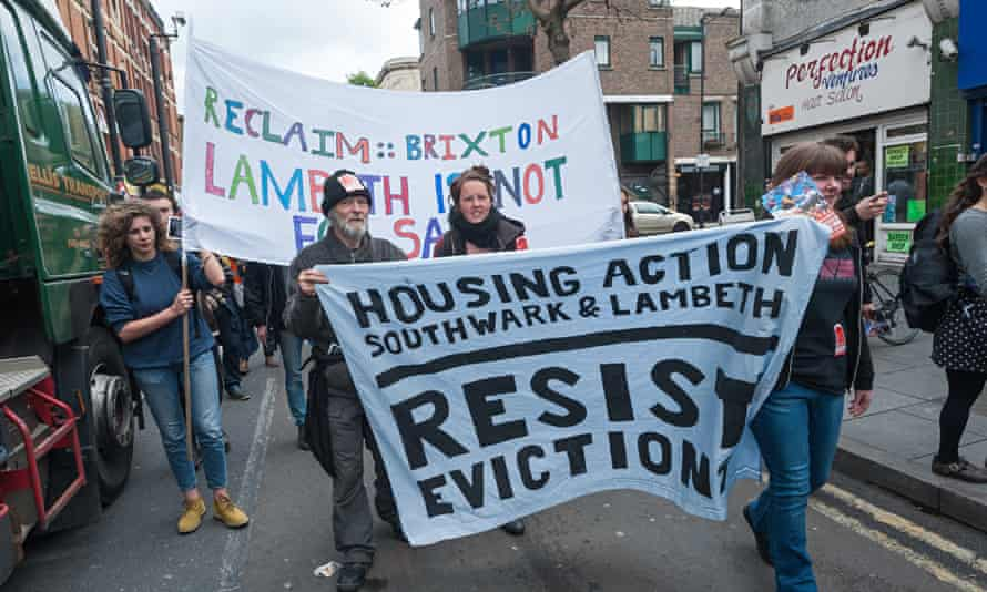 Housing activists demonstrate in Brixton, south London, 25 April 2015, London.