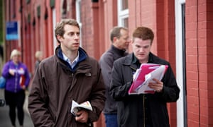 Will Straw canvassing in Waterfoot during the 2014 council elections