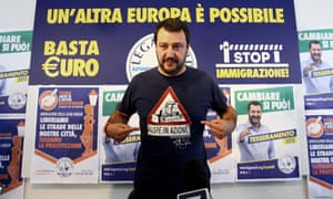Northern League leader Matteo Salvini tells the press his party is aiming for a national victory