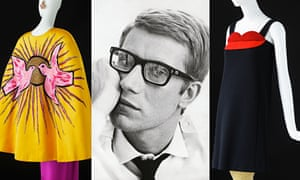 A 1964 portrait of Yves Saint Laurent flanked by hisYves Saint Laurent flanked by his creations