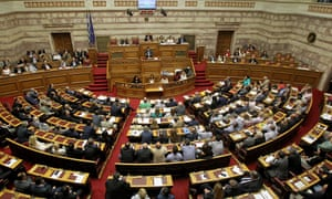 Alexis Tsipras addresses the Greek parliament