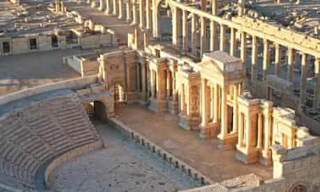 Aerial view of amphitheatre, Palmyra