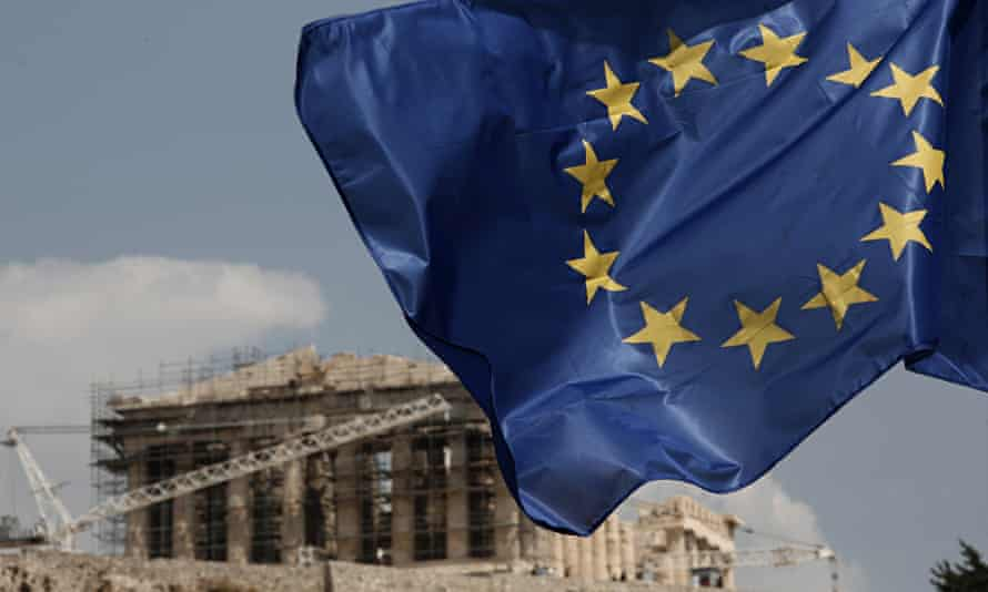 The EU flag flies in front of the Parthenon in Athens