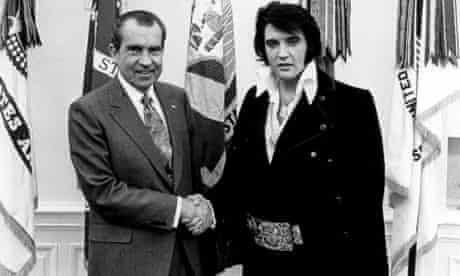 Richard Nixon meets Elvis Presley in 1970 at the White House