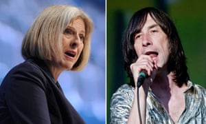 Theresa May and Bobby Gillespie of Primal Scream