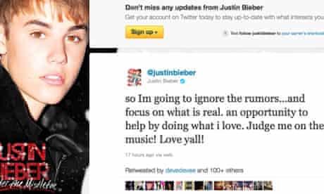 Justin Bieber's Twitter message