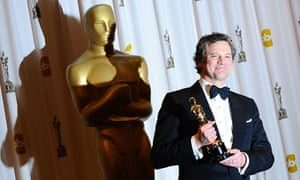 Colin Firth with his Oscar for best actor for The King's Speech
