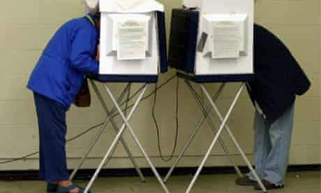 Voters fill in their ballots