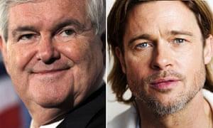 Newt Gingrich and Brad Pitt