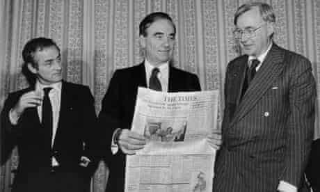 Harold Evans, Rupert Murdoch and William Rees Mogg in 1981