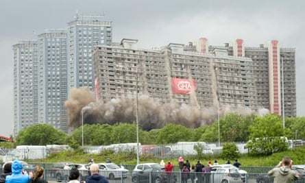 Demolition of the Red Road flats in Glasgow, Scotland
