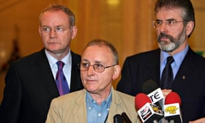 Denis Donaldson, Martin McGuinness and Gerry Adams