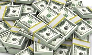 US dollars in packs