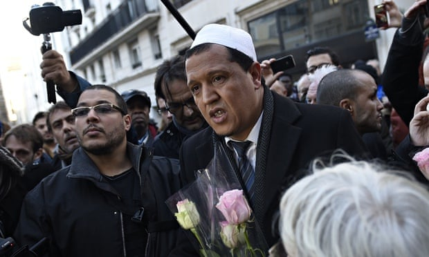 Imam of Drancy mosque, France, at Charlie Hebdo offices