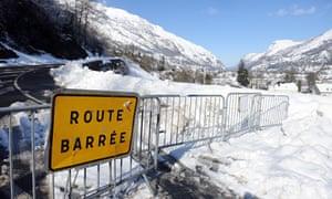 Road closure sign, Laruns, france