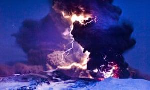 Erupting Eyjafjallajökull volcano, Iceland