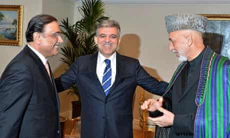 Pakistan's President Asif Ali Zardari, left, Turkey's Abdullah Gul and Afghanistan's Hamid Karzai