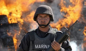 The Mexican navy guard the burning of tonnes of marijuana in Sinaloa state