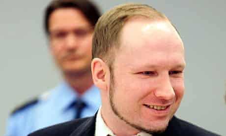 Anders Behring Breivik at his trial in Oslo for the murder of 77 people