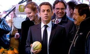 France's President Nicolas Sarkozy on a campaign stop in Longjumeau