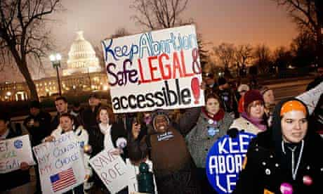 Pro-choice activists with the National Organisation For Women hold vigil outside US supreme court